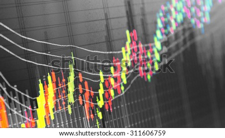 Charts and quotes on display background. Market Analyze. Bar graphs, diagrams, financial figures. Trading on market concept - stock photo