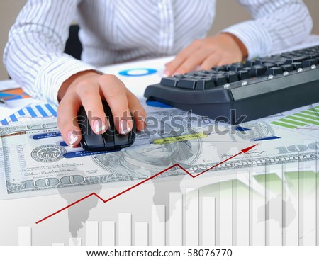 Charts, diagrams, documents on the desktop. Place a business person. Collage. - stock photo