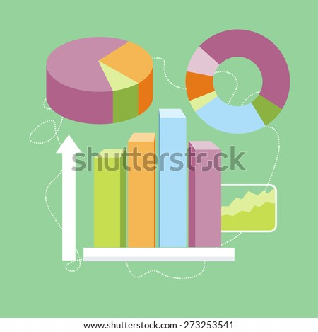 Charts graphs and parameters. Statistic business concept of analytics. Flat design style. Can be used for web banners, marketing and promotional materials, presentation templates. Raster version - stock photo