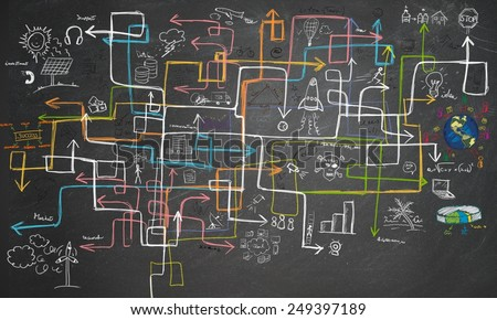 Charts maze and graphs for energy saving - stock photo