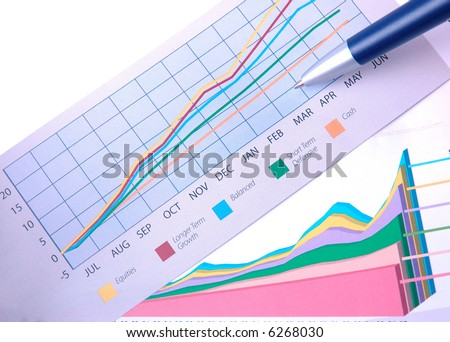 Charts presenting financial performance of different investments. - stock photo