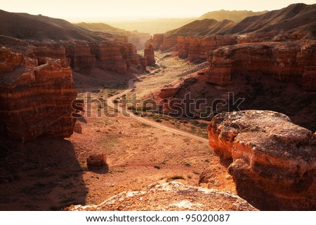 Charyn canyon in the Kazakhstan - stock photo
