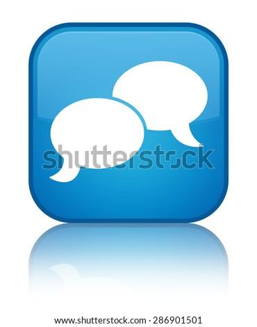 Chat bubble icon cyan blue square button - stock photo
