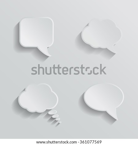 Chat bubbles - paper cut design. White color on light grey background illustration