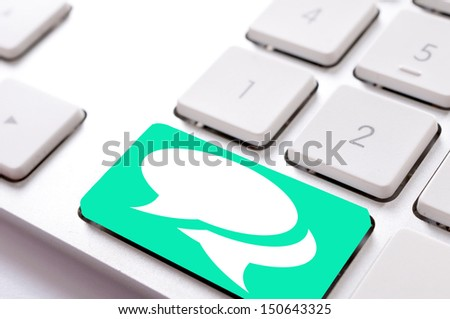 Chat button on the keyboard - stock photo
