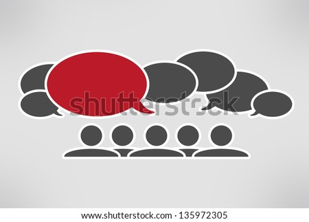 chat conversation red - stock photo