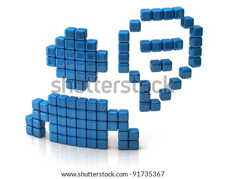 Chat icon made of blue cubes - stock photo