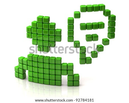 Chat icon made of green cubes - stock photo