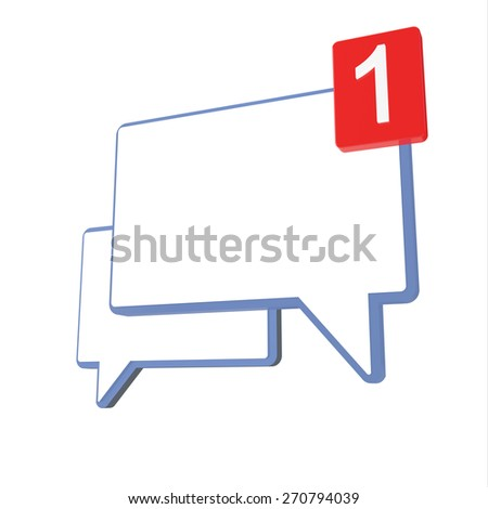 Chat icon with one new message - stock photo