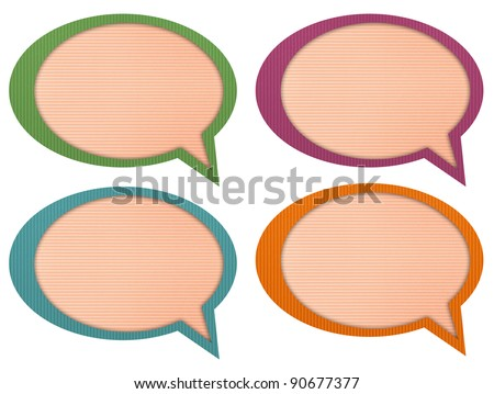 chat & idea, talk icons, signs,label with Corrugated paper craft on white background