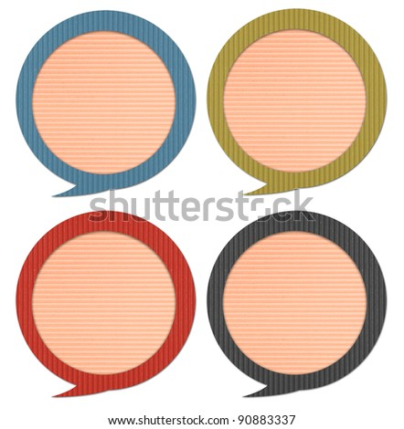chat & idea, talk icons, signs,label with Corrugated paper craft on white background - stock photo