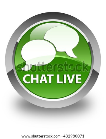 Chat live glossy soft green round button - stock photo