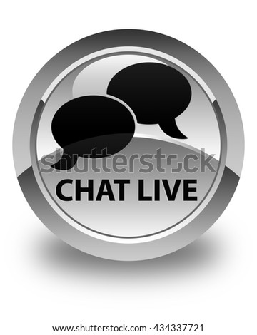 Chat live glossy white round button - stock photo