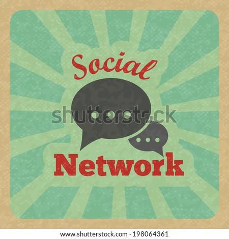 Chat message speech talk text bubble communication social network retro poster  illustration. - stock photo