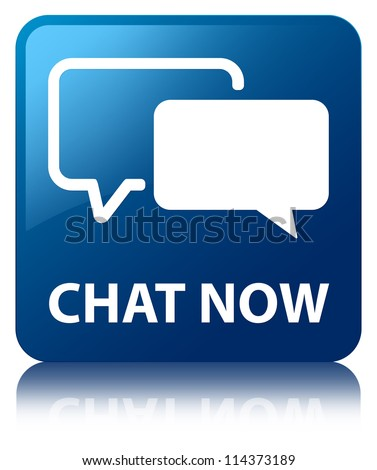 Chat now glossy blue reflected square button - stock photo