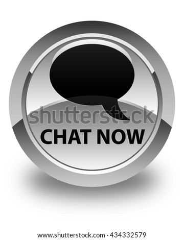 Chat now glossy white round button - stock photo