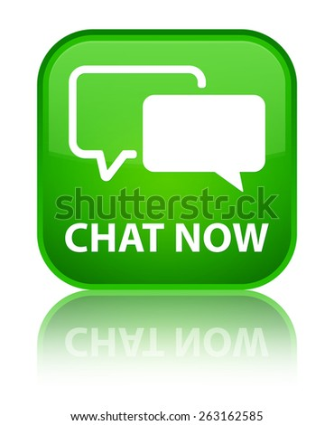 Chat now green square button - stock photo