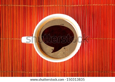 Chat shape on coffee cup - stock photo