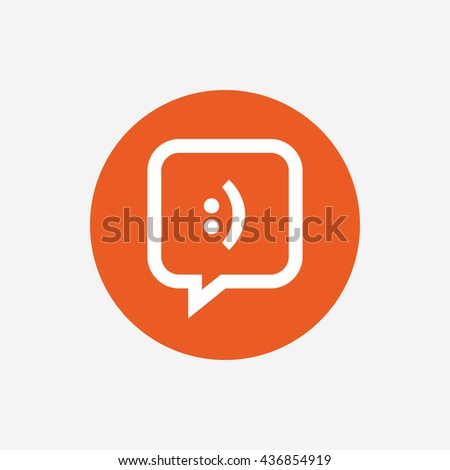Chat sign icon speech bubble smile stock vector 203944780 - Chat orange ...