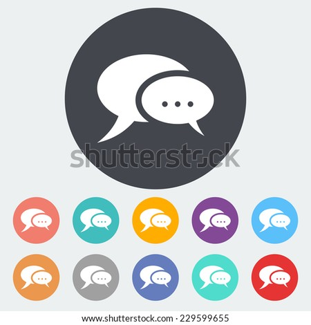 Chat. Single flat icon on the circle. - stock photo