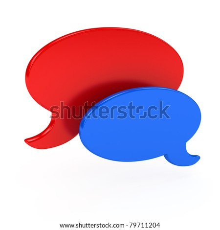 Chat symbol over white background. 3d computer generated image - stock photo