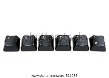 chat with smiley emote - macro of keyboard keys isolated over white