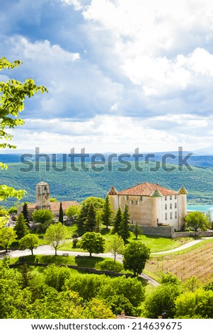 chateau and church in Aiguines, Var Department, Provence, France - stock photo