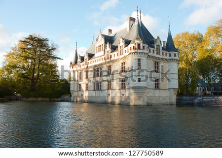 Chateau Azay-le-Rideau  (built 1527), Loire, France at sunset - stock photo