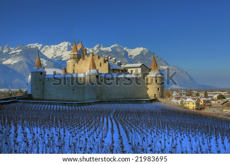 Chateau d'Aigle in winter, Switzerland (HDR Image)