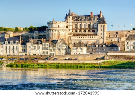 Chateau d`Amboise, France. This royal castle is located in Amboise in the  Loire Valley, was built in the 15th century and is a tourist attraction. - stock photo
