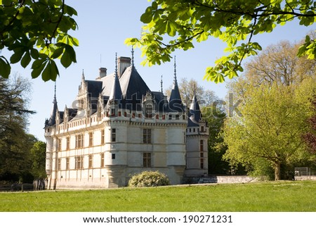 Chateau d'Azay-le-rideau from the garden in Loire Valley, France - stock photo