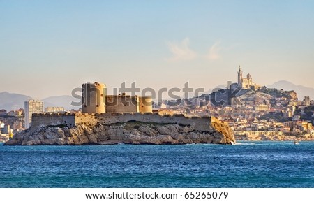 Chateau d'If, famous prison mentioned in Dumas Monte Cristo novel, in Marseilles, France - stock photo