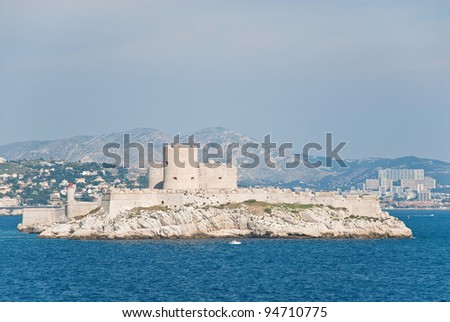 Chateau d'If, famous prison mentioned in Dumas Monte Cristo novel, near Marseilles, France