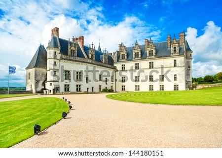 Chateau de Amboise medieval castle, Leonardo Da Vinci tomb. Loire Valley, France, Europe. Unesco site. - stock photo