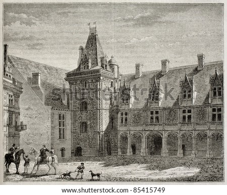 Chateau de Blois old illustration, France. By unidentified author, published on Magasin pittoresque, Paris, 1842 - stock photo