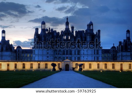 Chateau de Chambord at night, Loire Valley, France - stock photo