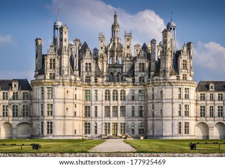 Chateau de Chambord close up, royal medieval french castle. Loire Valley, France, Europe. Unesco heritage site. - stock photo