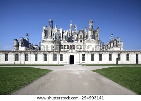 Chateau de Chambord, royal medieval castle, view of the main entrance. Loire Valley, France, Europe. UNESCO world heritage site. - stock photo