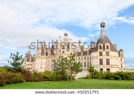 Chateau de Chambord, royal medieval french castle at Loire Valley in France, Europe