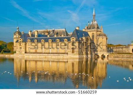 Chateau de Chantilly -  a view from the lake - stock photo
