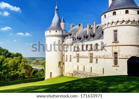 Chateau de Chaumont-sur-Loire, France. This castle is located in the Loire Valley, was founded in the 10th century and was rebuilt in the 15th century. - stock photo
