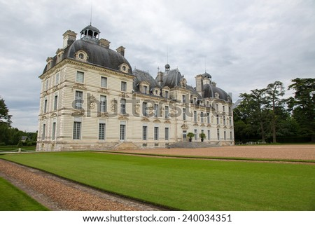 Chateau de Cheverny, a famous castle of the Loire valley in the departement Loir-et-Cher in France. - stock photo