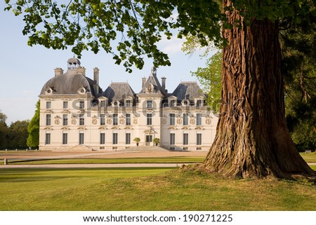 Chateau de Cheverny behind the tree in Loire Valley, France - stock photo