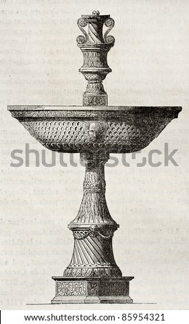 Chateau de Gaillau fountain (kept in Louvre museum). By unidentified author, published on Magasin Pittoresque, Paris, 1842 - stock photo