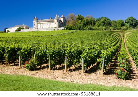 Chateau de Rully with vineyards, Burgundy, France - stock photo