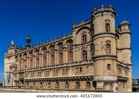 Chateau de Saint-Germain-en-Laye (around 13 miles west of Paris). Work at Chateau was begun in 1124 by Louis VI as a fortified hunting-lodge. It now - National Museum of Archaeology. France. - stock photo