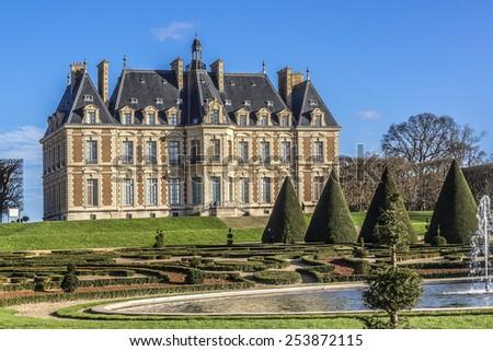 Chateau de Sceaux - grand country house in Sceaux, Hauts-de-Seine, not far from Paris, France. Located in a park laid out by Andre Le Notre, it houses Ile-de-France Museum, a museum of local history. - stock photo