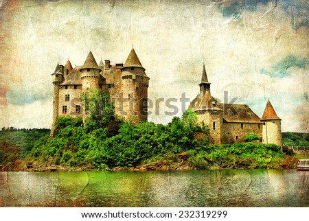 Chateau de Val - castle on lake - artistic picture in painting s - stock photo