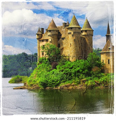 Chateau de Val - castle on lake - artistic picture in painting style - stock photo