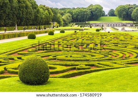 Chateau de Vaux-le-Vicomte (1661) - baroque French Palace located in Maincy, near Melun, in Seine-et-Marne department of France. Beautiful garden designed by landscape architect Andre le Notre. - stock photo